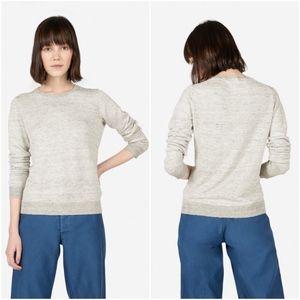 Everlane Sweaters - Everlane The Linen Crew Sweater - Gray & White